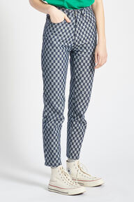 Check Print Tara Tapered Jeans Blue