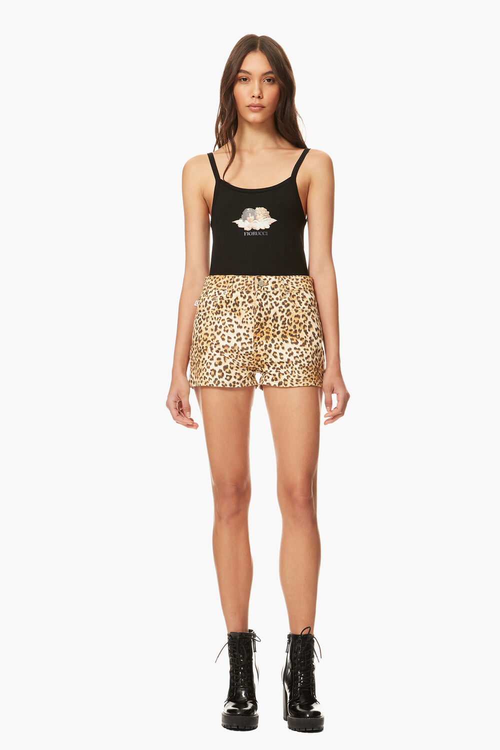 Angels Patch Shorts Leopard Print