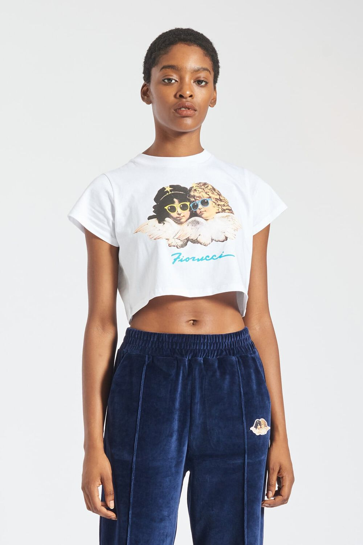 Angels Sunglasses Crop T-Shirt White