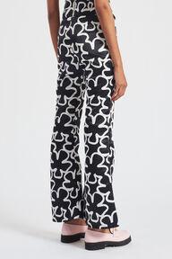 Pop Art Flower Print Flared Trousers Black