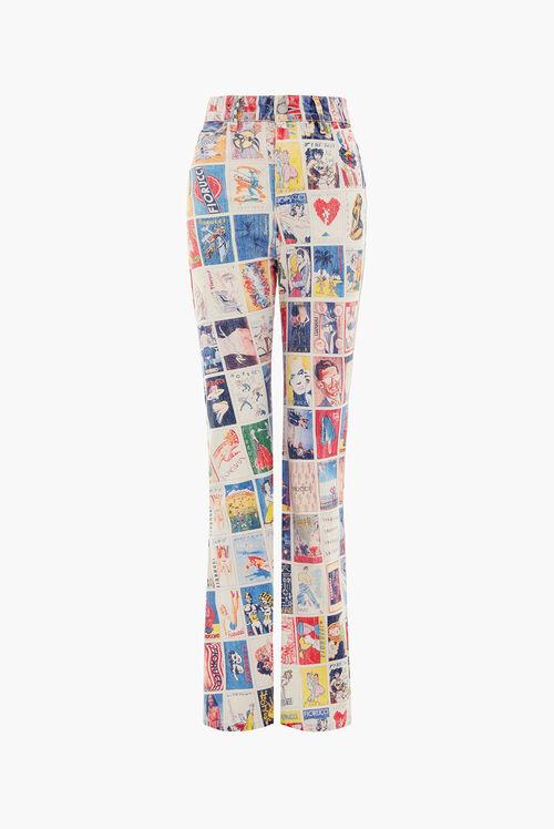 Panini Print Flared Jeans Multi