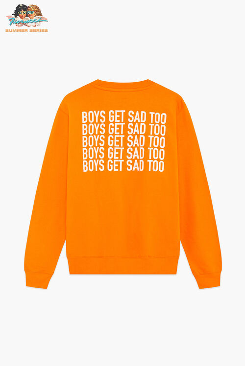 Boys Get Sad Too Block Logo Crewneck Sweatshirt Orange