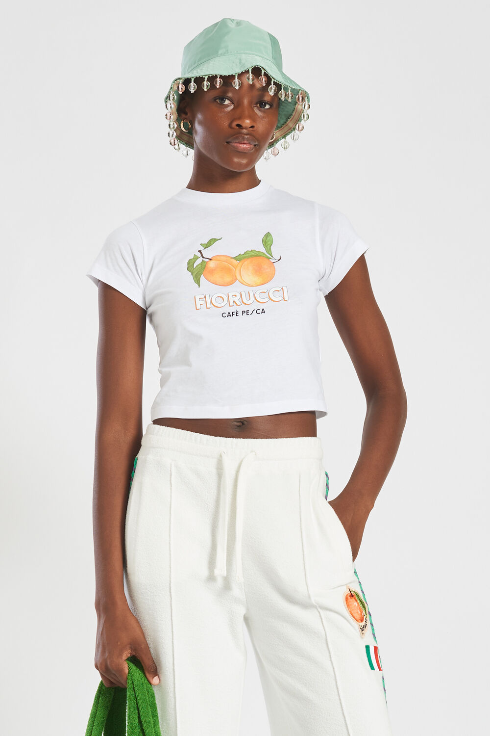 La Pesca Peach Logo Crop T-Shirt White