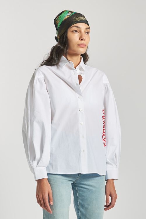 Puffy Sleeve Shirt White