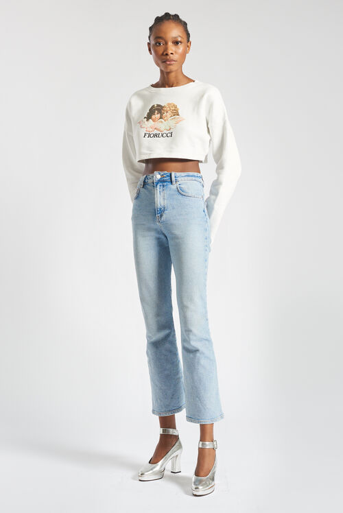 Angels Crop Sweatshirt White
