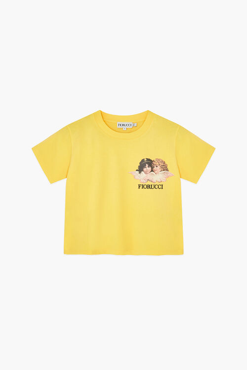 Angels Logo Boxy Crop T-Shirt Yellow