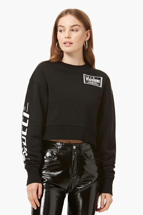 White Denim Crop Sweatshirt Black