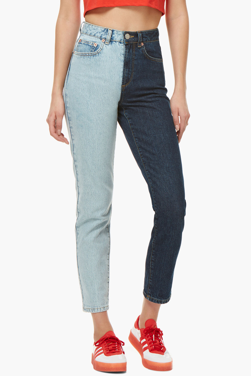 Tara Two Tone Tapered Jeans Blue