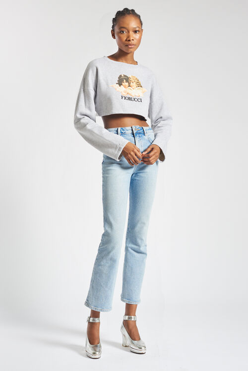 Vintage Angels Crop Sweatshirt Light Grey