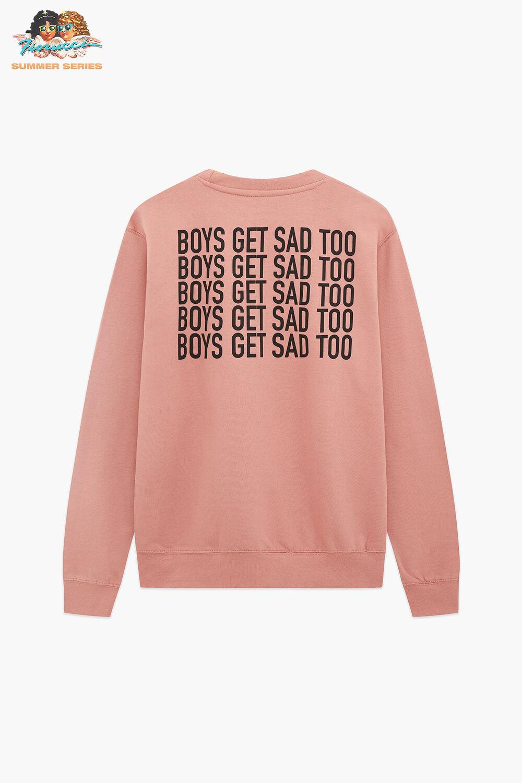 Boys Get Sad Too Block Logo Crewneck T-Shirt Dusty Pink