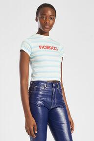 Fiorucci Logo Stripe Crop T-Shirt Blue
