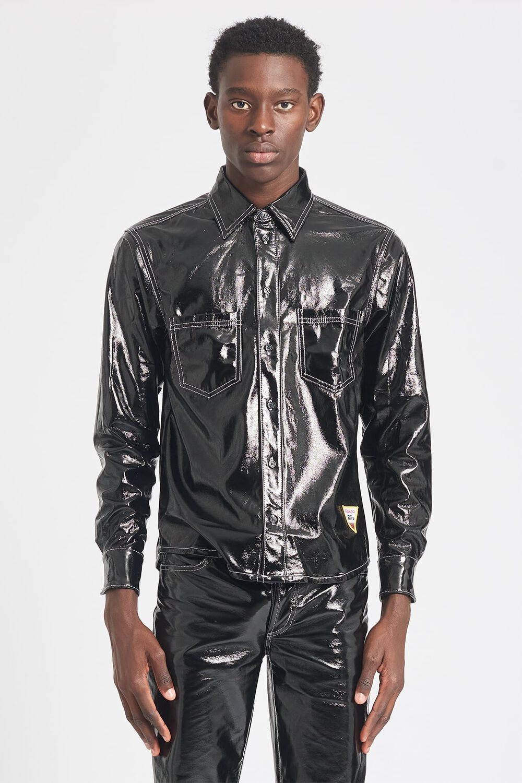 Vinyl Double Pocket Shirt Black
