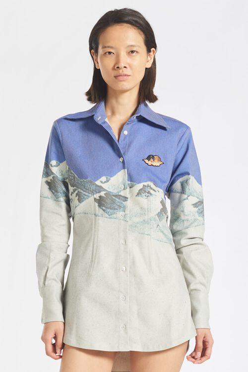Mountain Mini Shirt Dress Blue
