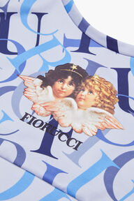 All Over Logo Crop Top Blue
