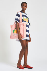 La Pesca Peach Logo Stripe T-Shirt Dress Blue