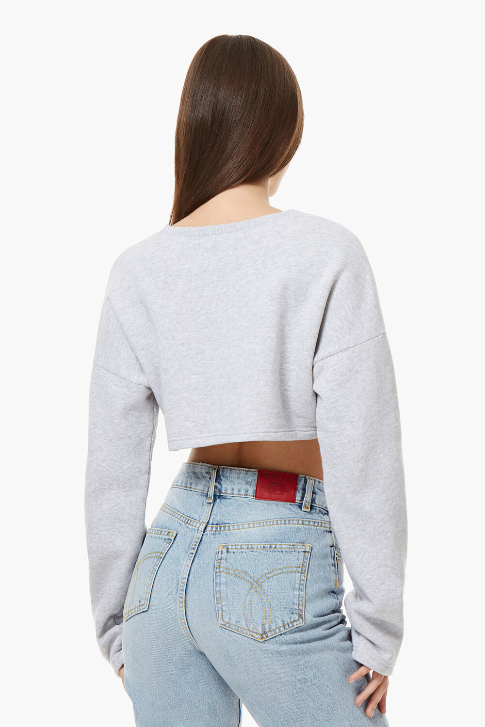 Vintage Angels Cropped Sweat Heather Grey