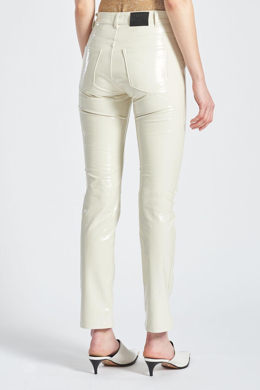 Vinyl Slim Leg Trousers Off White
