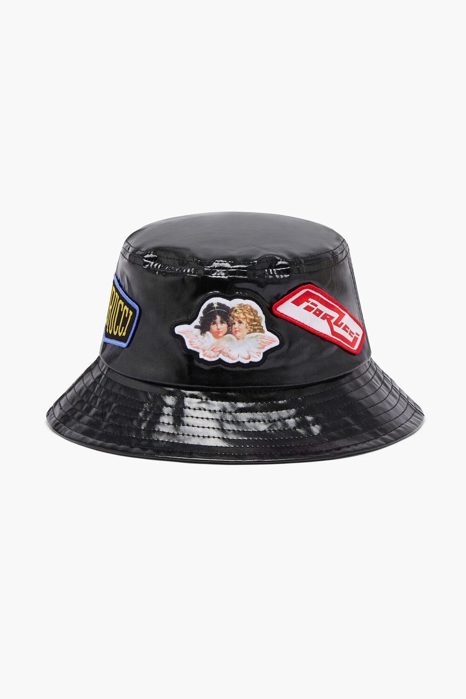 Angels Patch Vinyl Bucket Hat Black