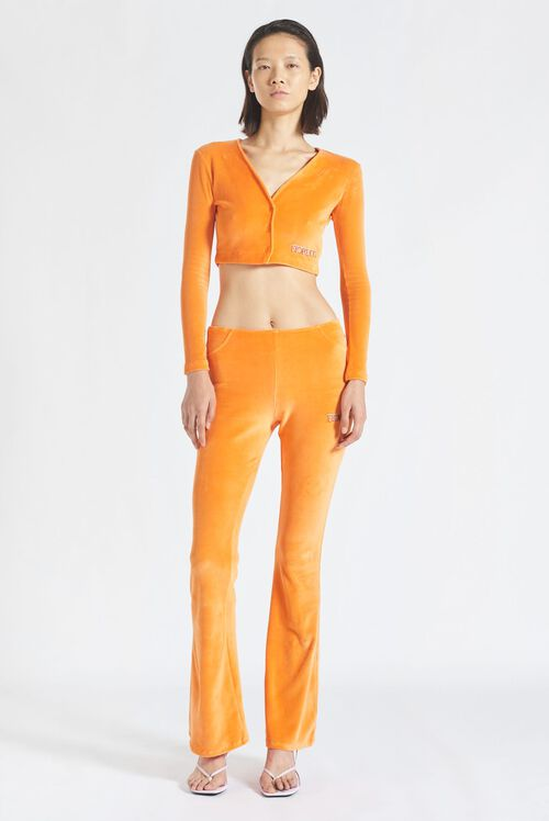 Logo Velour Flared Pant Orange