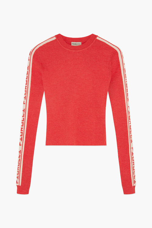Rib Logo Tape Sweater Red