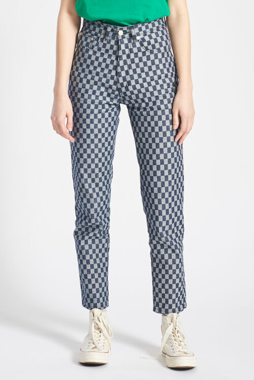 Checkerboard Tara Jeans Blue