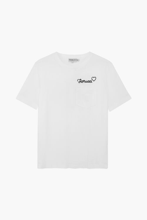 Embroidered Black Logo T-Shirt White