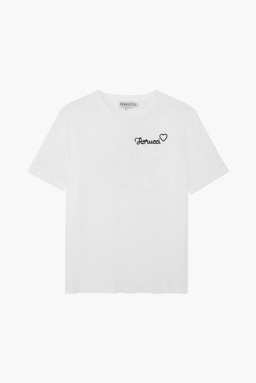 Embroidered Black Logo T-Shirt White