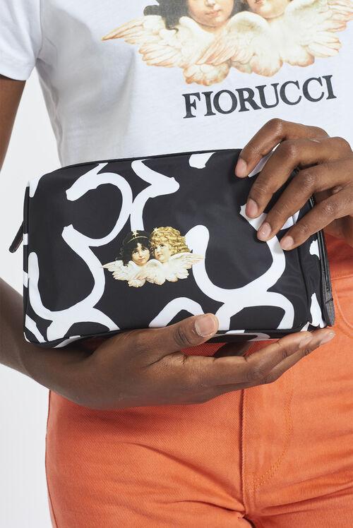 Oversized Pop Art Flower Pouch Bag Black