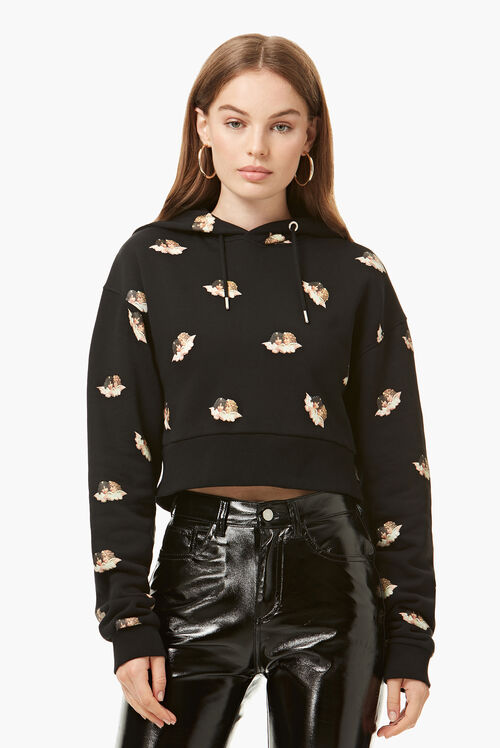 All Over Angels Crop Hoodie Black