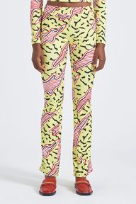 Memphis Print Flared Trousers Yellow