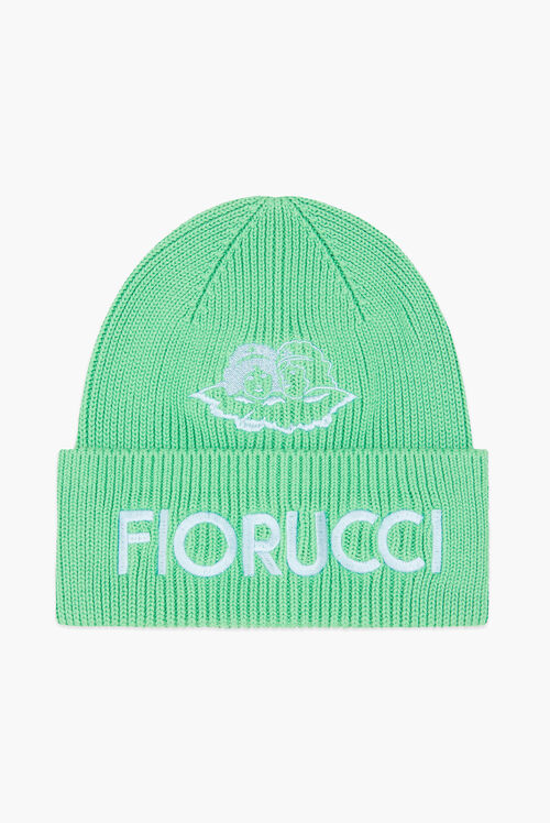 Embroidered Angels Ribbed Beanie Green