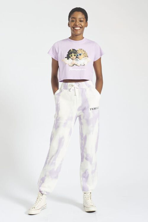 Angels Sunglasses Crop T-Shirt Lilac