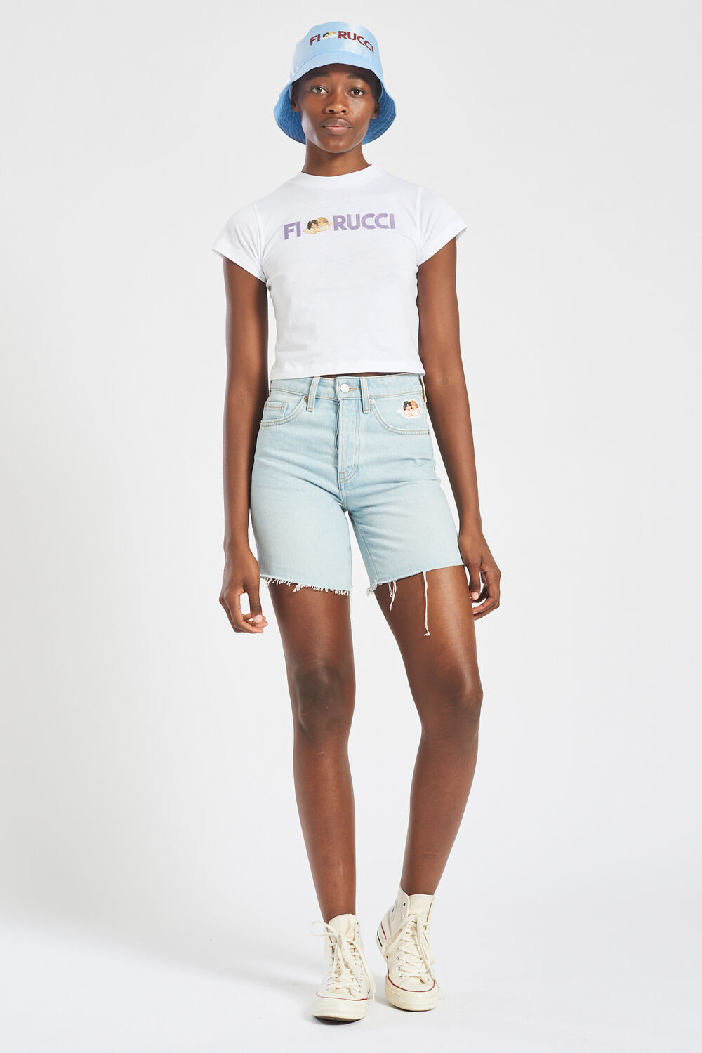 Embroidered Logo Angels Crop T-Shirt White