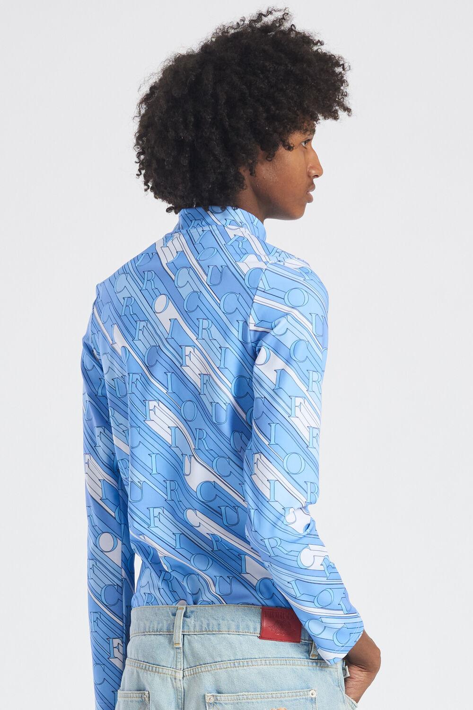 Monogram Print Long Sleeve Top Blue