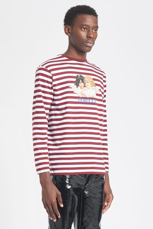 Angels Stripe Long Sleeve T-Shirt White