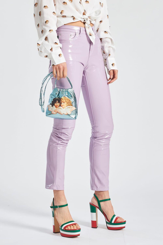 Vinyl Slim Leg Trousers Lilac