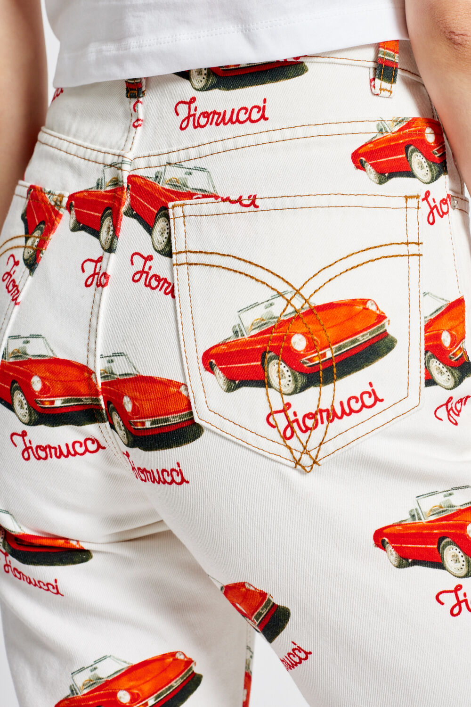 Racing Car Graphic Print Tara Tapered Jeans White