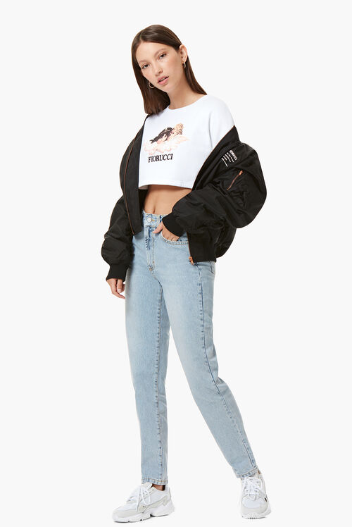 Vintage Angels Crop Sweat White