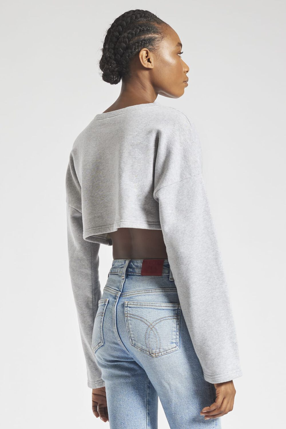 Angels Crop Sweatshirt Light Grey