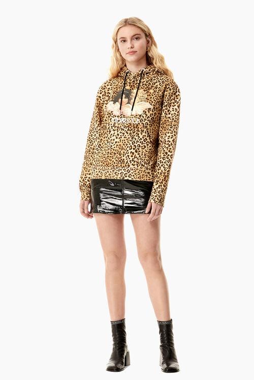 Vintage Angels Hoodie Leopard Print