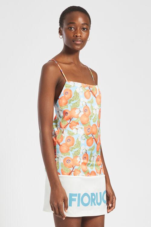 Peaches Print Pastel Mini Slip Dress Blue