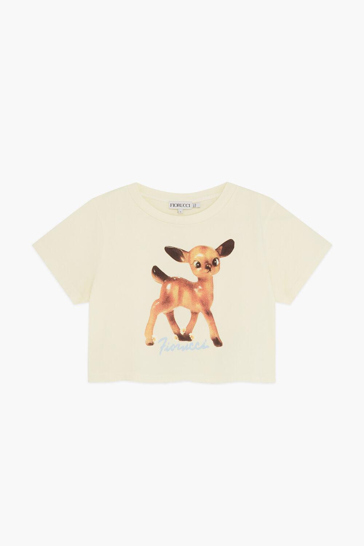 Woodland Deer Crop T-Shirt Pale Yellow