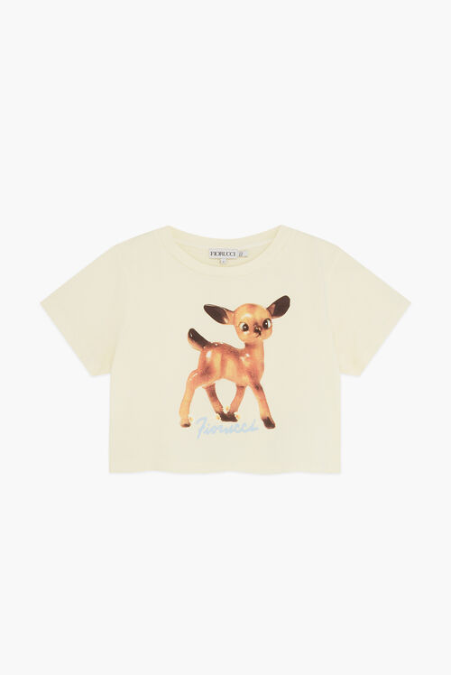 Woodland Deer Crop T-Shirt Pale Yellow