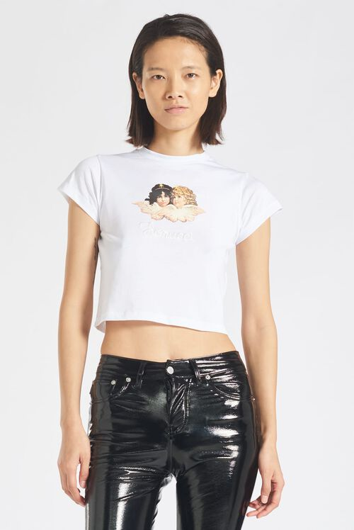 Angels Logo Crop T-Shirt White