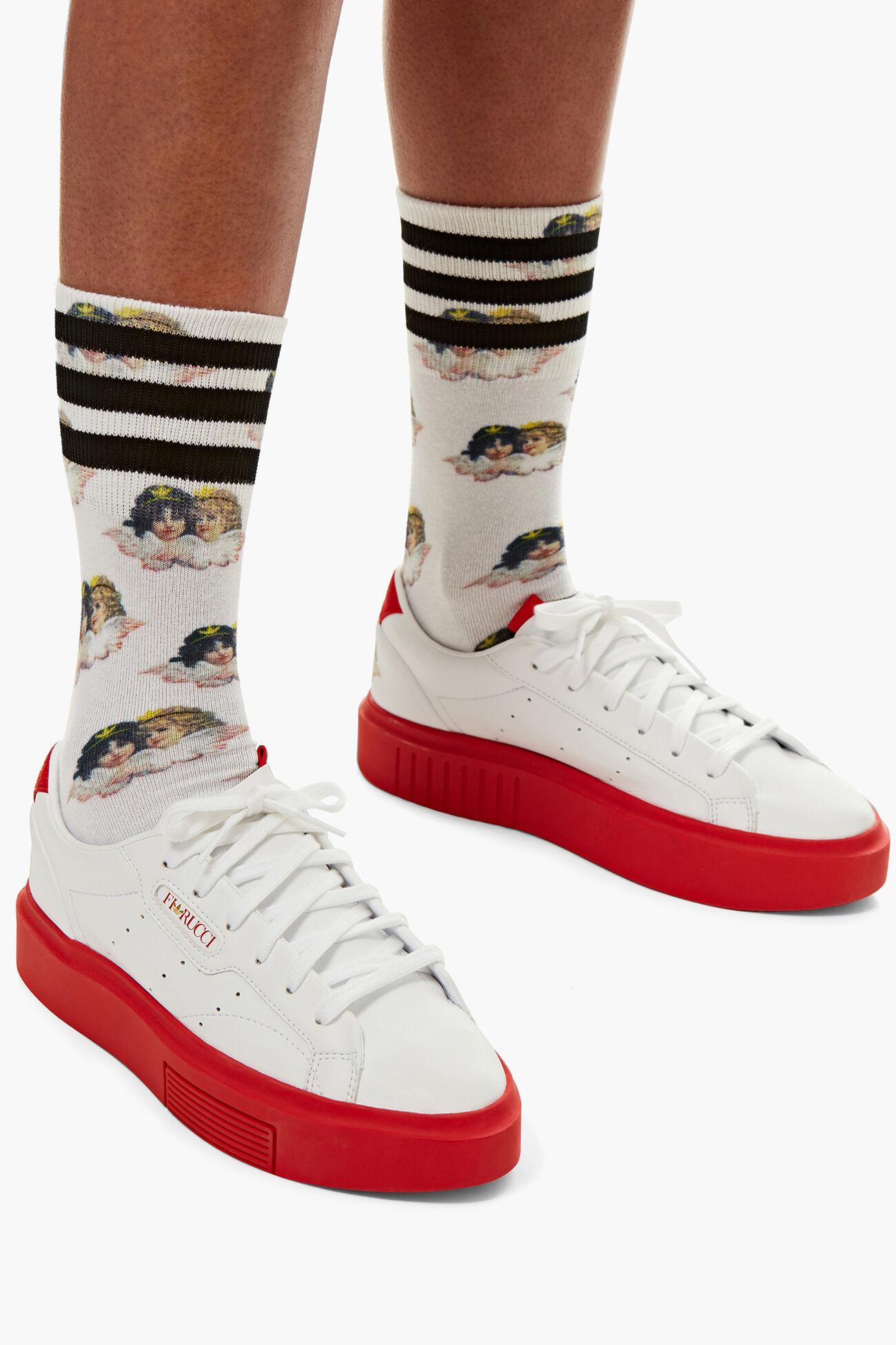 pas mal a75b3 58e35 Adidas x Fiorucci All Over Angel Socks White