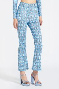 Snow Leopard Print Flared Trouser Blue