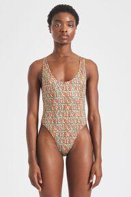 Leopard Print Logo Swimsuit Multi