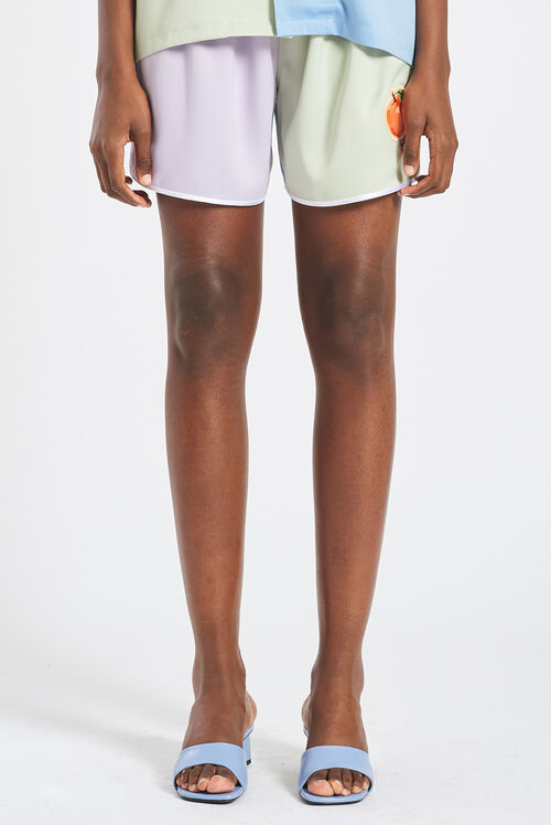 Peach Logo Pastel Satin Shorts Lilac & Green