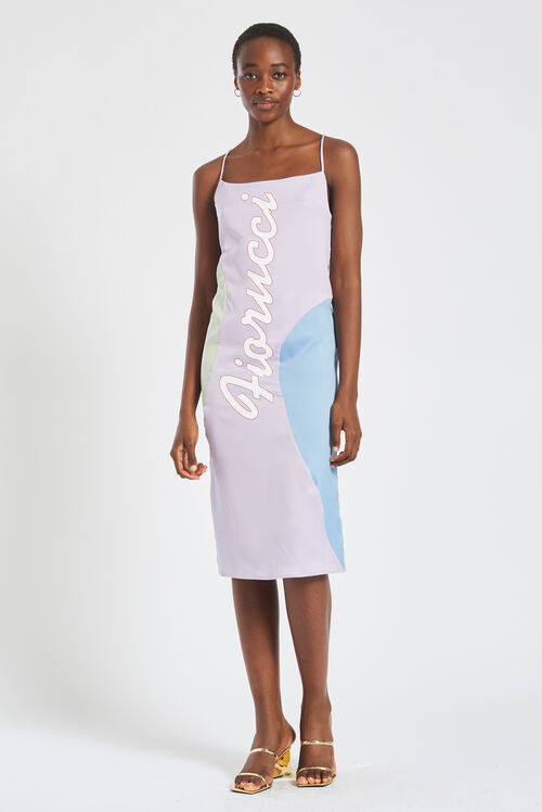 Logo Pastel Midi Slip Dress Lilac
