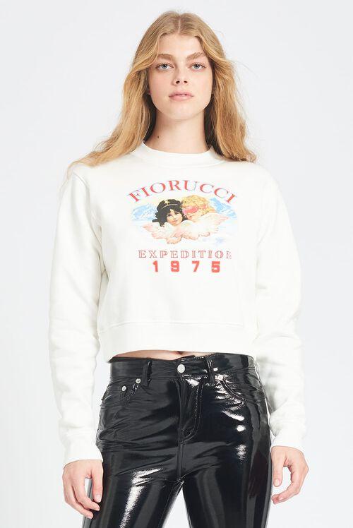 Snow Angels Crop Sweatshirt White